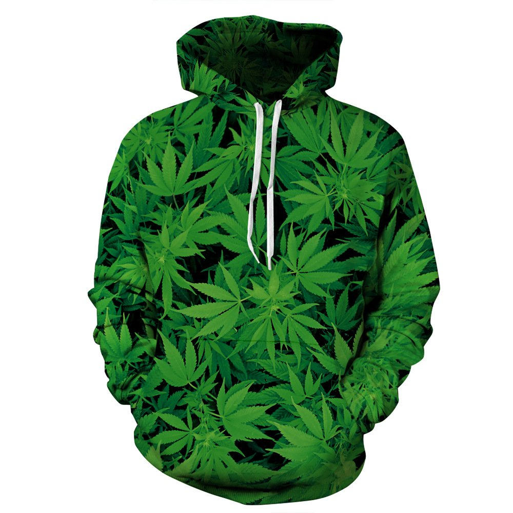 Cayyon 3D Printing Hoodie Women and Men Lovers Cannabis Leaves Long Sleeve Hat Clothes