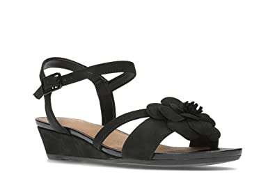 6e61fb6f6d7 Clarks Parram Stella Nubuck Sandals in Black Wide Fit Size 7½ ...
