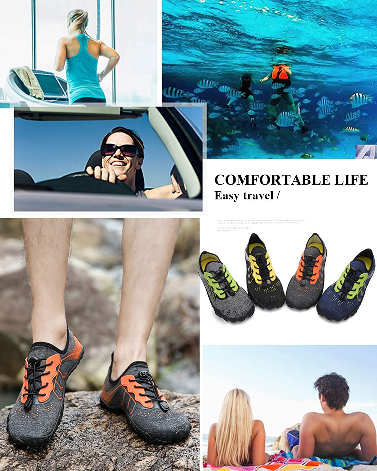 todaysunny Water Shoes Men Women Quick Drying Swim Surf Beach Pool Shoes Wide Toe Barefoot Aqua Shoes Summer Outdoor Sports Shoes