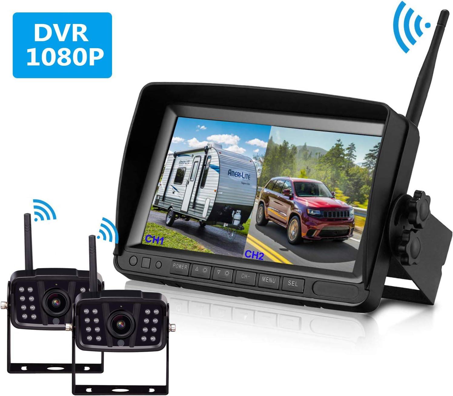 Digital Wireless Split Rear Side View System 7/'/' HD Monitor+Dual CCD Camera Kit