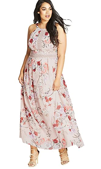 Lacy Sunday\'s Plus Size Maxi Dress in Nude Botanical - Size ...