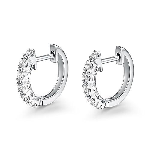 a09ecd071e05 Pendientes de aro con 6 diamantes de 18 quilates de oro blanco 750 de 8 mm