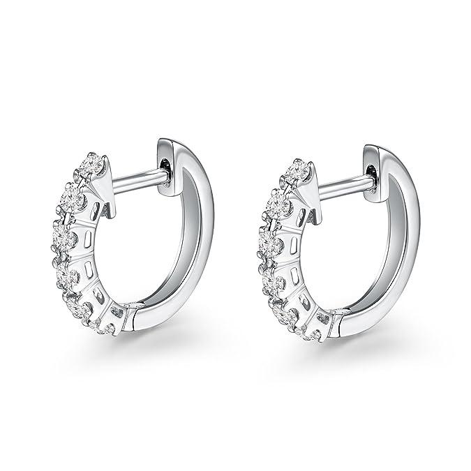 749fbdc43f53 Pendientes de aro con 6 diamantes de 18 quilates de oro blanco 750 de 8 mm  (0