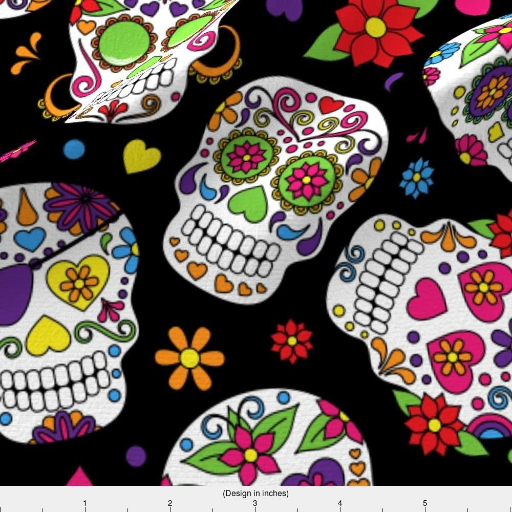 Sugar Skulls Black Background Skull Day Dead Halloween Mexico Trendy Printed on Basketweave Cotton Canvas Fabric by The Yard Upholstery Home Decor Bottomweight Spoonflower Fabric