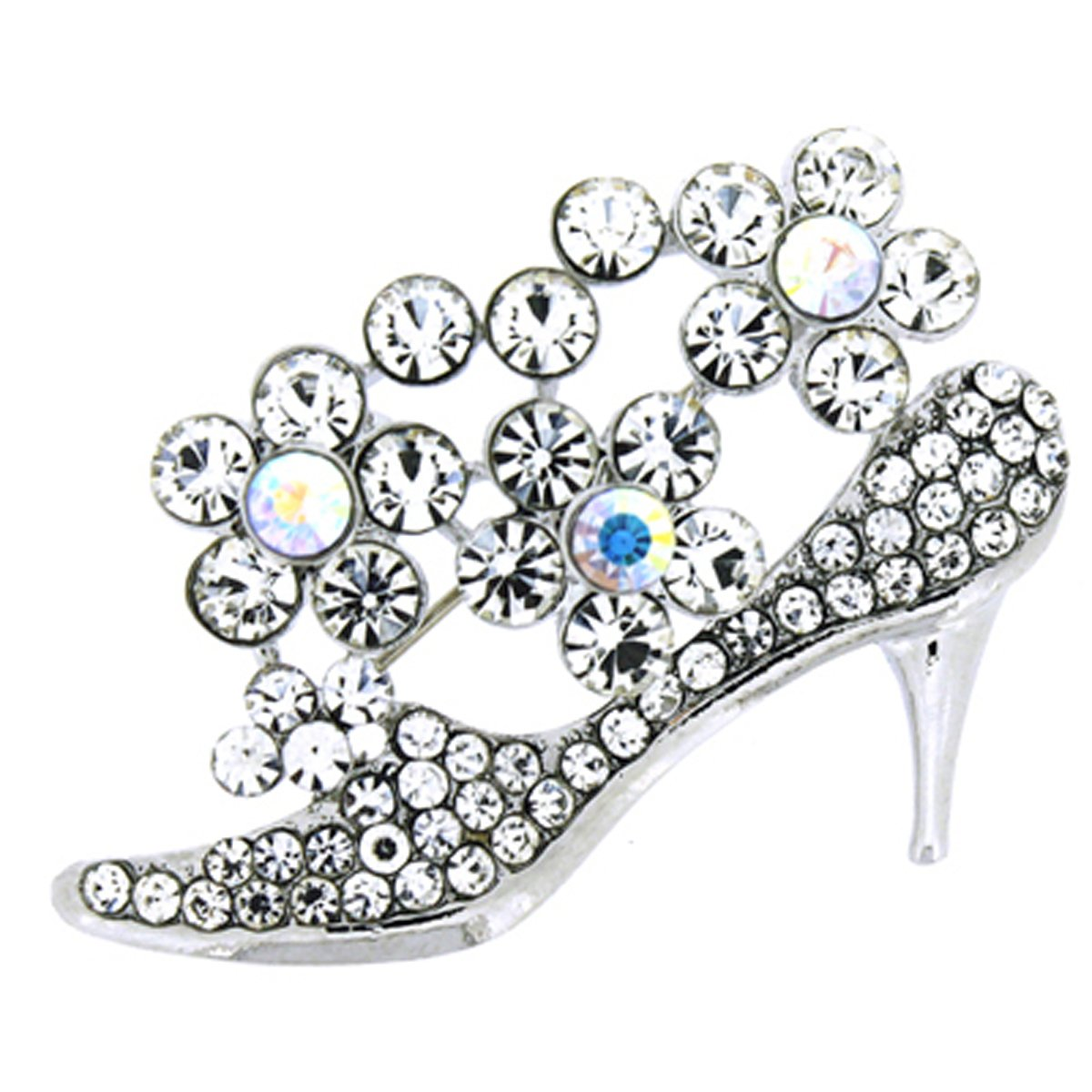 1055dd3fdc2 Brooches Store Silver   AB Swarovski Crystal Stiletto High Heel Shoe with  Flower  Brooches Store  Amazon.co.uk  Jewellery