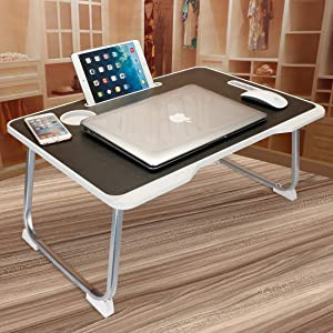 Laptop Bed Table, Aitmexcn Foldable Portable Lap Standing Desk with Cup Slot & Handle, Notebook Stand Breakfast Bed Tray Book Holder for Sofa, Bed, Terrace, Balcony, Garden- Black & White