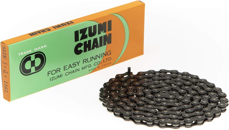 """Gold Links /& Pins 116L Fixed Gear Bike Izumi Jet Black Track Chain 1//8/"""" Black"""