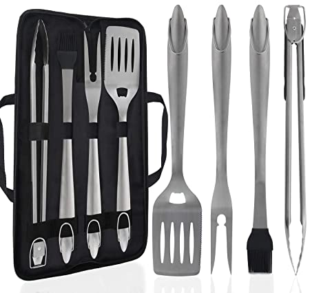 POLIGO 5PCS Camping BBQ Grilling Tools Set with a Walkbag – Extra Thick Stainless Steel Spatula, Fork, Tongs Basting Brush – Gift Box Package Ideal Christmas Birthday Gifts Set for Dad Men Women