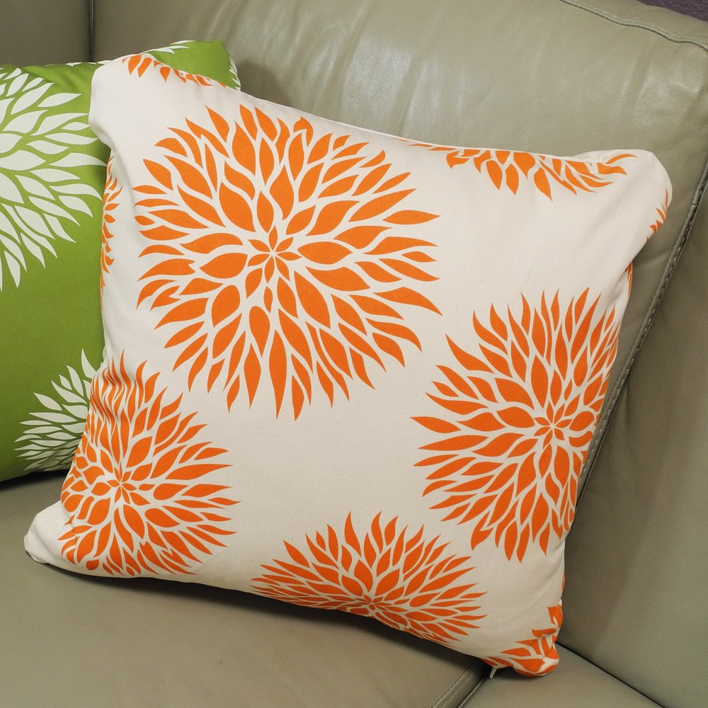 Wabisabi Green Dahlia Pillow Cover Apple Green 18 by 18-Inch