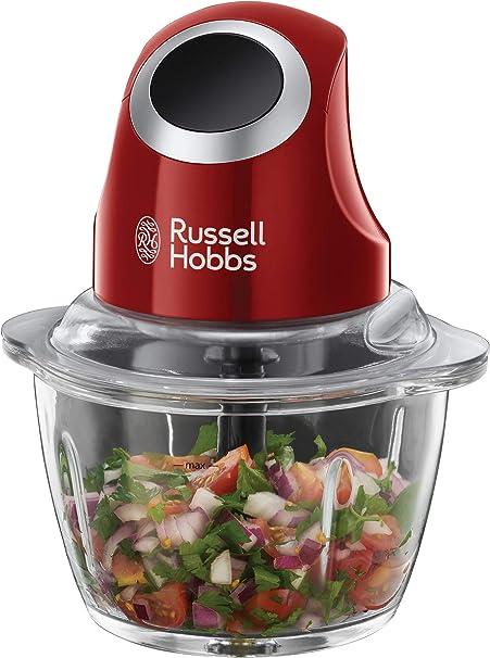 Russell Hobbs Mini Zerkleinerer Desire, Ein-Hand-Bedientaste, 500ml Glasbehälter inkl. Deckel, Gemüsezerkleinerer, elektrischer Mixer, Multi-& Universalzerkleinerer f. Gemüse, Obst & Fleisch 24660-56