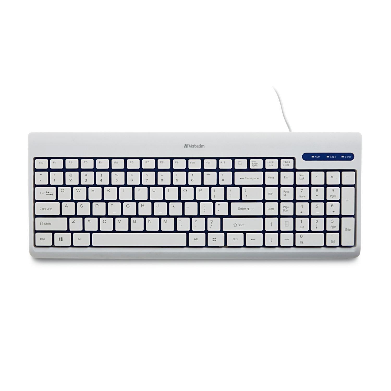 Verbatim USB Corded Keyboard, White (99377)