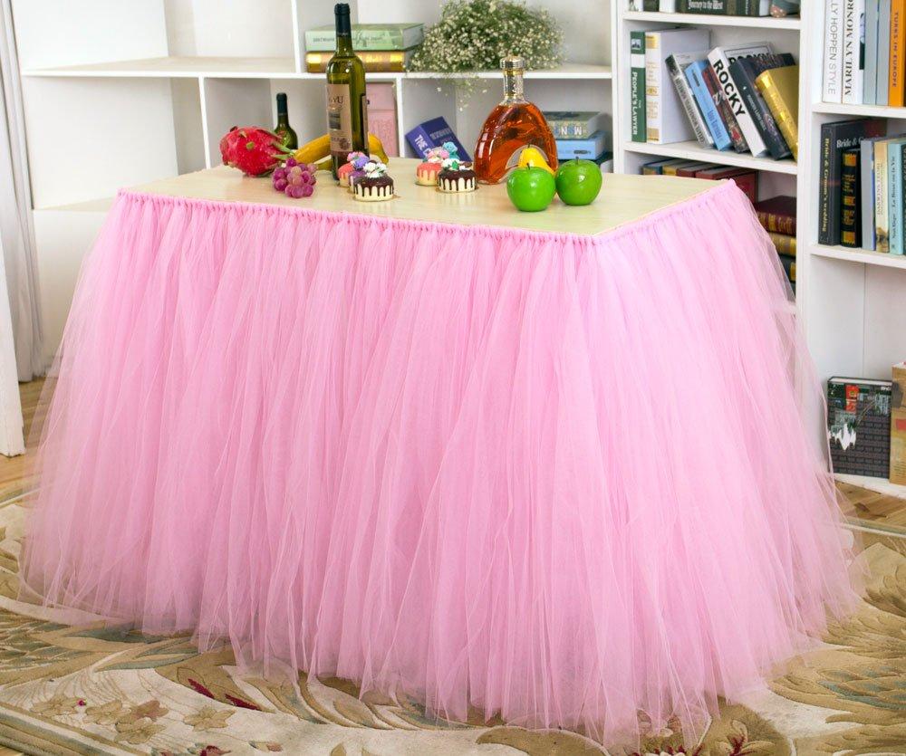 Toyofmine 3Pcs x Tutu Table Skirt Table Cloth Wedding Birthday Baby Shower Princess Parties Decoration (Pink)