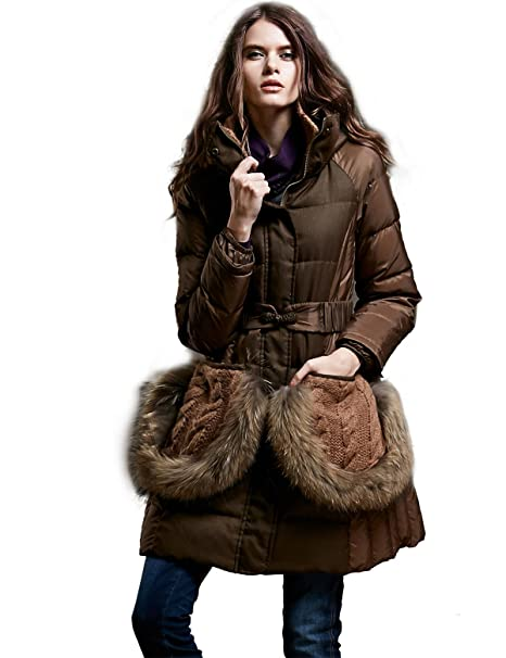 Artka Womens Hooded Vintage Down Jacket with Adjustable Belt Patchwork Pockets