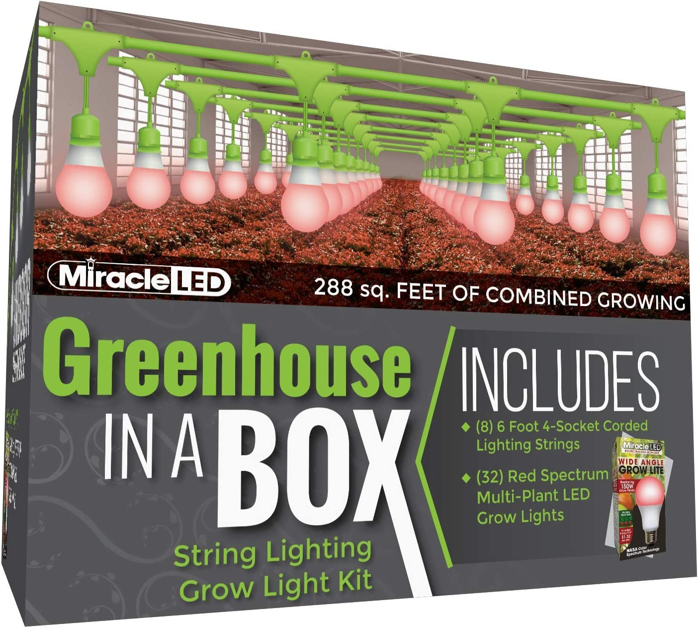 Miracle LED Greenhouse in a Box Grow Kit for Indoor Plants - Includes 4 Red Spectrum Flowering Multi-Plant Wide Beam Grow Light Bulbs & One 4-Socket Corded Light Fixture (8-Pack)