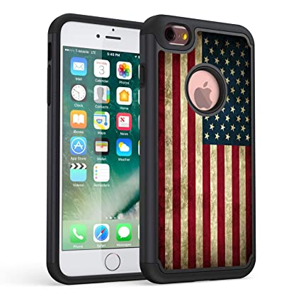 iPhone 6s Case,iPhone 6 Case,Rossy Retro Vintage Old USA American Flag Design Shock-Absorption Hard PC Soft Silicone Dual Layer Hybrid Armor Defender ...