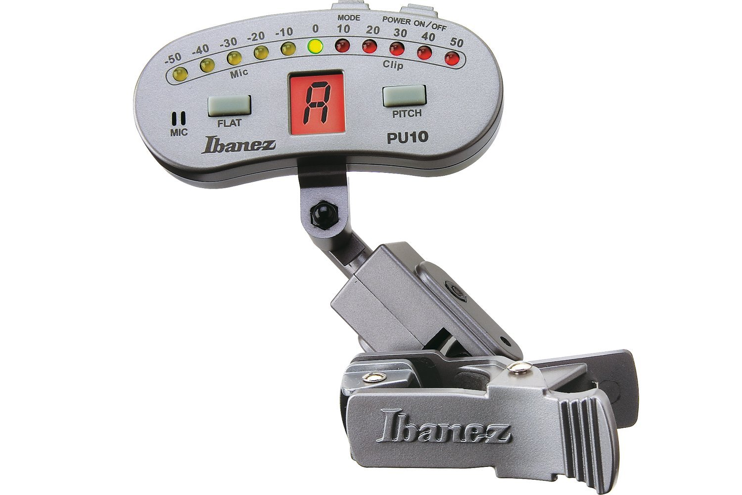 Ibanez PU10-SL Chromatic Clip Tuner for Guitar Bass Violin Banjo Silver