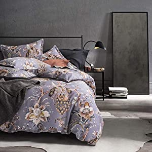 Tahari Home Peacock Bird Botanical Jacobean Floral Duvet Set (Full/Queen) in shades of gold, brown, terra-cotta, and steel blue on lavender gray background
