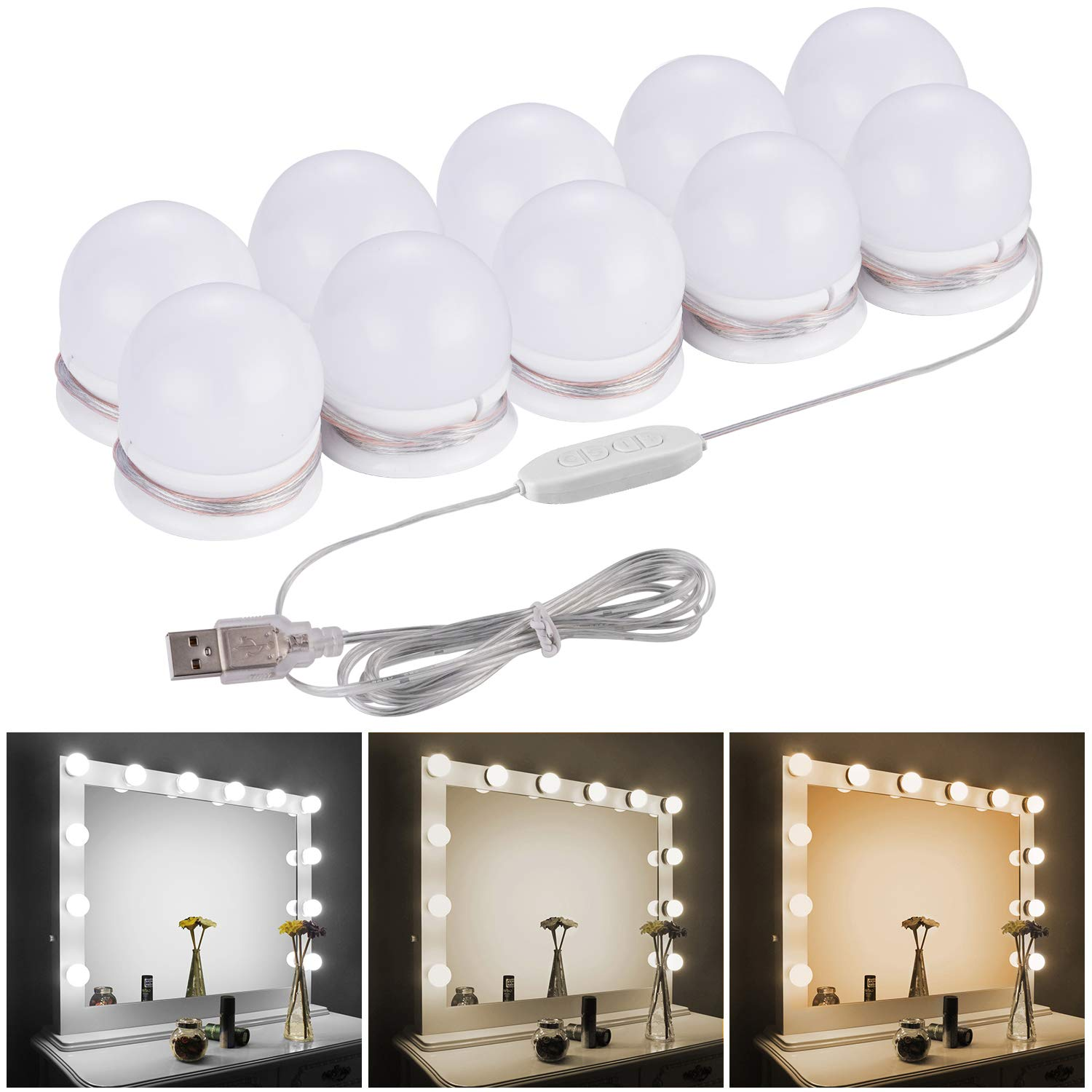 LED Vanity Mirror Lights Kit-CamelHome Upgraded 3 Dimmable Color 10 Led Light Bulbs for Vanity Table Set and Bathroom Mirror,Hollywood Lighting Fixture Strip with USB Charge Cable(Mirror NOT Include)
