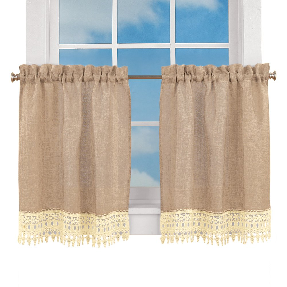 "Collections Burlap Lace Café Kitchen Curtain with Rod Pocket Tops, 36"" L Tiers"