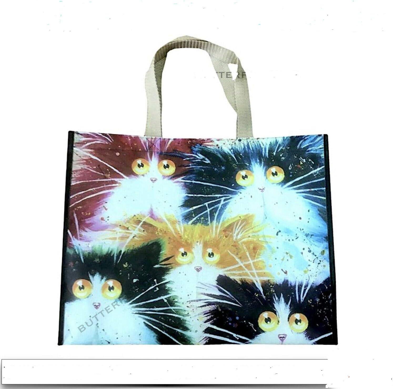 Puckator Feline Fine Cat Shopping Bag Resuable Shopper Tote Foldable Cute Gift