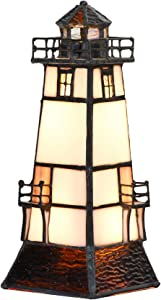 Bieye L10727 Lighthouse Tiffany Style Stained Glass Table Lamp Night Light with Lookout Platform, 2-Lights, 8.5-inch Tall