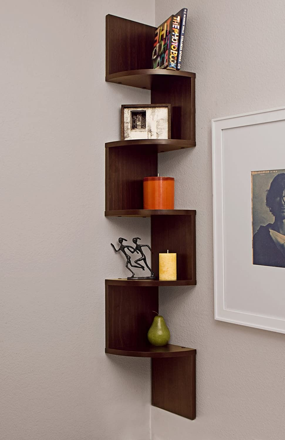 Amazon.com: Danya B Large Corner Wall Mount Shelf   Walnut: Home U0026 Kitchen