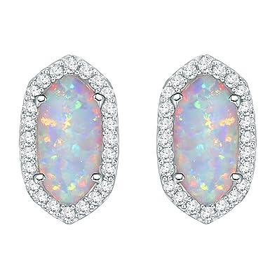 5f0473291 Newshe Jewellery Australian Opal Stud Earrings for Women 925 Sterling  Silver 3.7ct AAA Cz Halo