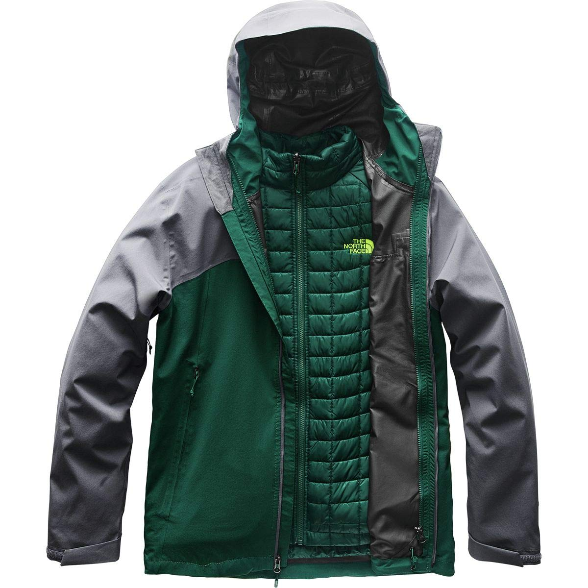 The North Face Men's Thermoball Triclimate Jacket - Botanical Garden Green & Vanadis Grey - S