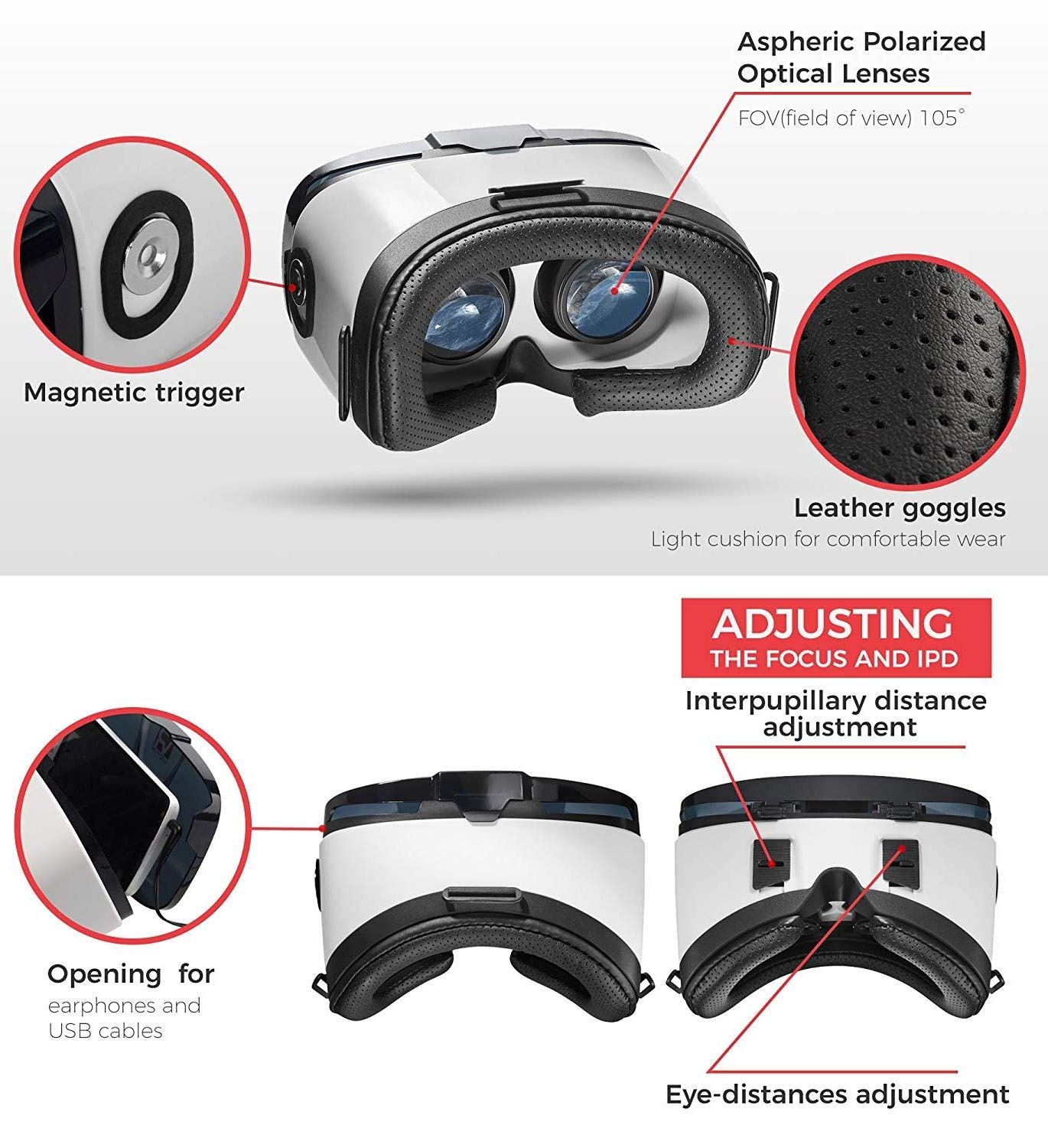 VR Headset - Virtual Reality Goggles by VR WEAR 3D VR Glasses for iPhone 6/7/8/Plus/X & S6/S7/S8/S9/Plus/Note and Other Android Smartphones with 4.5-6.5'' Screens + 2 Stickers by VR WEAR