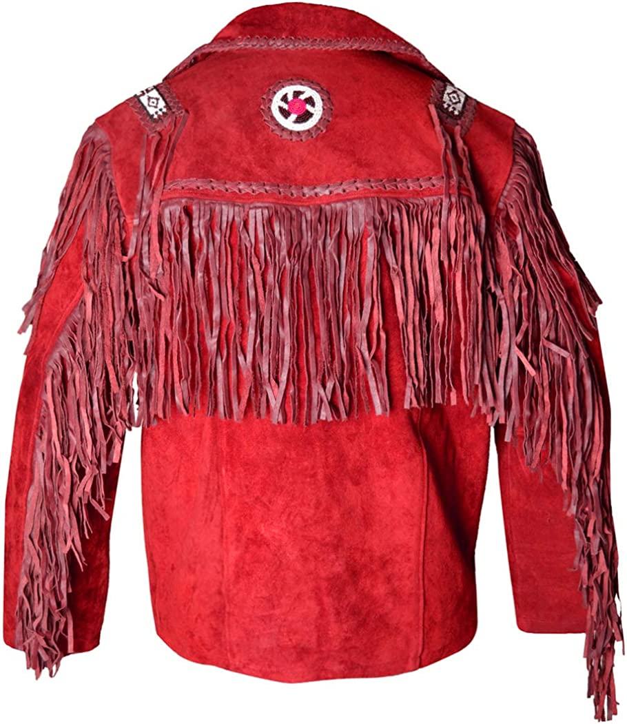 MSHC Western Cowboy Mens Fringed Suede Leather Jacket D13 V1 XXS-5XL Red