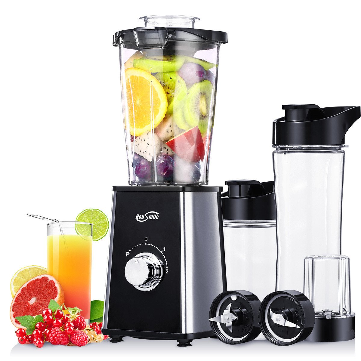 Personal Blender Housmile Fruits Extractor Smoothie Shake And Take 3 2 Bottle Juicer With Travel Lid Two Sport Black Kitchen Dining