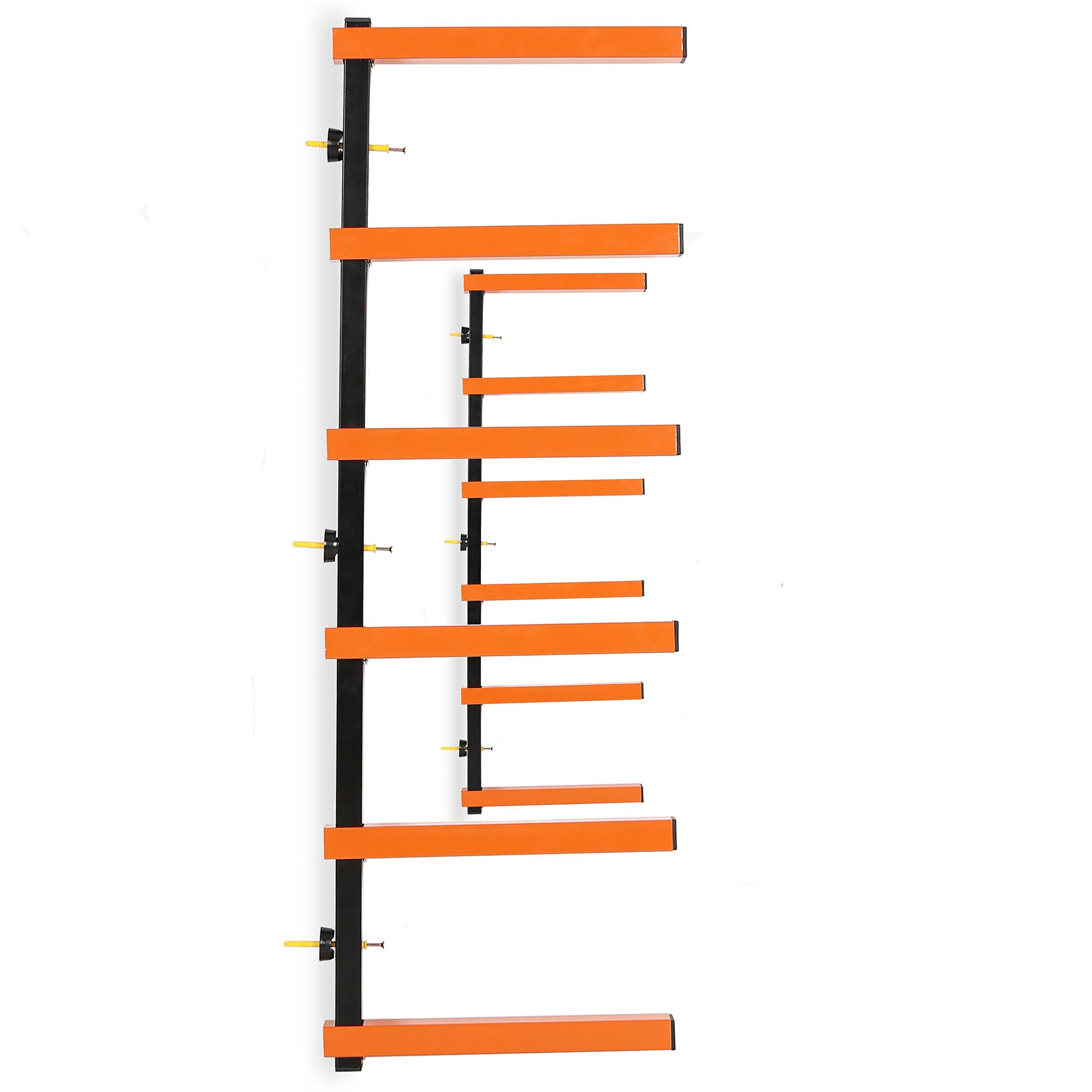 7BLACKSMITHS Six-Level 600 lb Capacity Lumber Storage Rack Wall-Mounted both Indoor and Outdoor Use Wood Organizer Rack by 7BLACKSMITHS (Image #2)