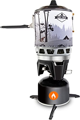 HikeCrew Portable Gas Powered Stove top Cooking System, Compact Camping Cooktop with 0.8L Pot, Silicone Lid, Folding Handle Carry Bag, Perfect for Camping, Hiking, Backpacking, Survival Emergenc