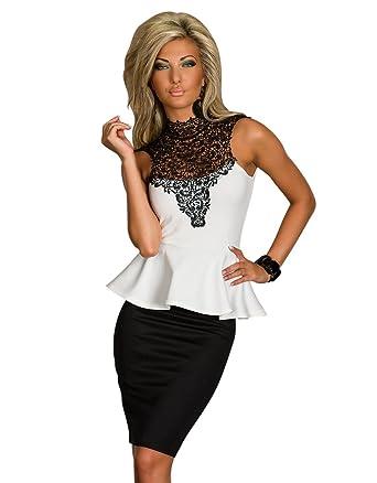 4822 Schößchen-Kleid mit effektvollen Farbkontrasten dress robes ...