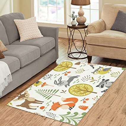 Amazon Com Interestprint Home Decor Forest Animal Green Area Rug