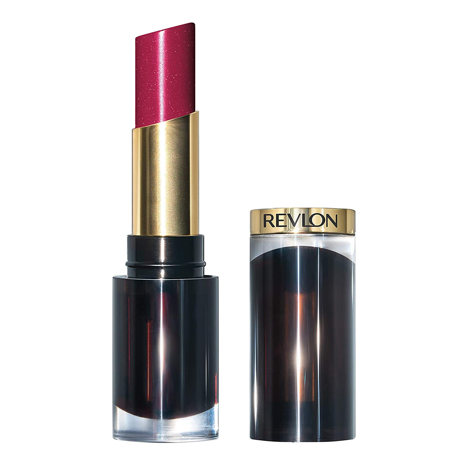 Revlon Super Lustrous Glass Shine Lipstick, Moisturizing Lipstick with Aloe and Rose Quartz in Red, 025 Glassy Ruby, 0.15 oz