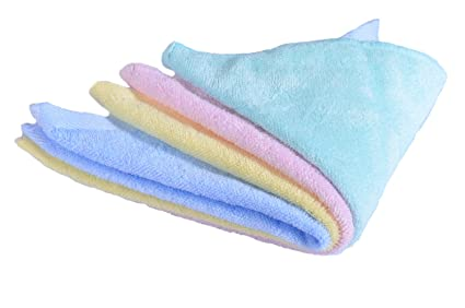 CaLeQi Pack de 4 mixed Colour-Soft Bambú Toallas de Cara, Suave Bebé Recién
