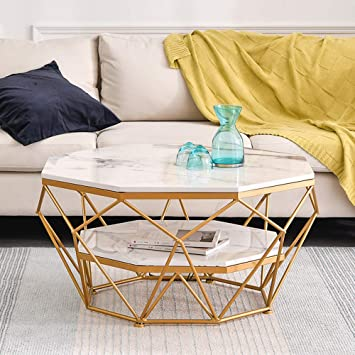 Amazon Com Luxury Simple Design Side End Table Small Space Living Room White Marble Coffee Table 2 Tier Storage Accent Table Office Waiting Area Table 67cm Cocktail Table Easy To Assemble Furniture Decor