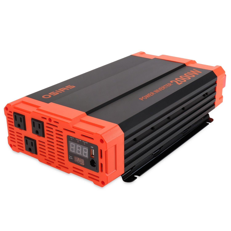 OSIAS 2000W Power Inverter 12V DC to 110V AC Car Converter 3 AC Outlets 2.1A USB Inverter