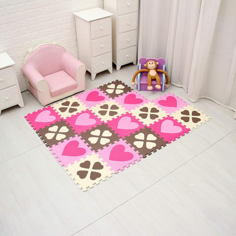 b18N qqpp Alfombra Puzzle para Ni/ños Bebe Infantil Forma de Corazon /& Flor de Cuatro Hojas QQP-27 18 Piezas Suelo de Goma EVA Suave 3/&6 30*30*1cm