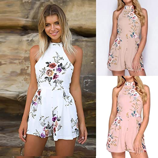 114c3dac147 Amazon.com  NEWONESUN 2018 Fashion Women V-Neck Rose Embroidery Jumpsuit  Summer Loose Playsuit Bodysuit Trousers (Small