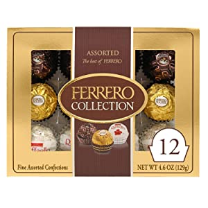Ferrero Rocher Collection, Fine Hazelnut Milk Chocolates, 12 Count Gift Box, Assorted Coconut Candy and Chocolates, 4.6 oz, Perfect Easter Egg and Basket Stuffers
