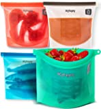 Reusable Food Bags - More Convenient and Cost Effective Than Plastic - 1 Litre Silicone Storage Bag - BPA Free, Hygienic and Leakproof - Safe to Use in Dishwasher, Microwave and Freezer - Set of 4