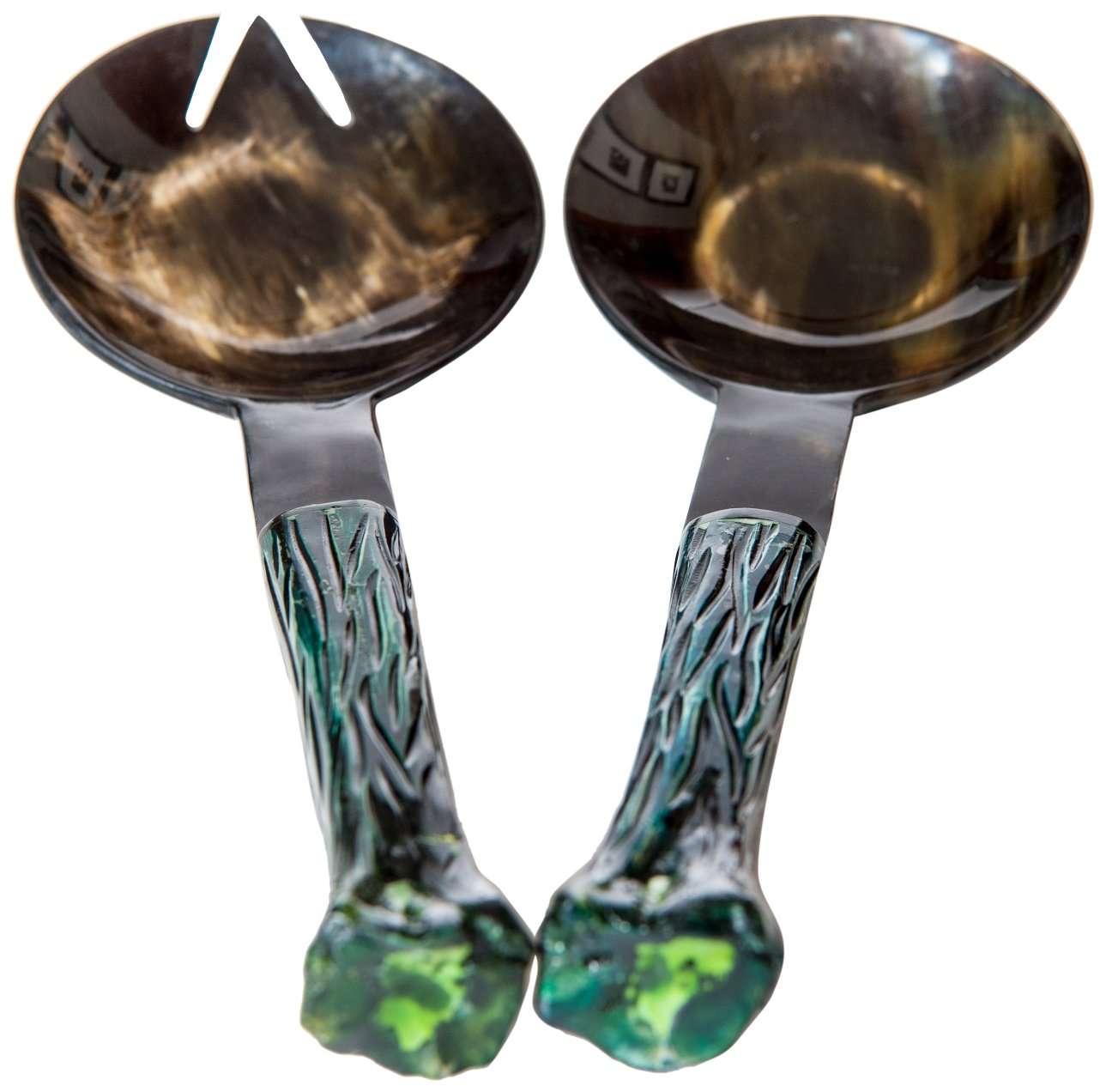 Abigails Ribbed Handled Horn Salad Servers, 13.5 by 4.5 by 2.5-Inch, Green