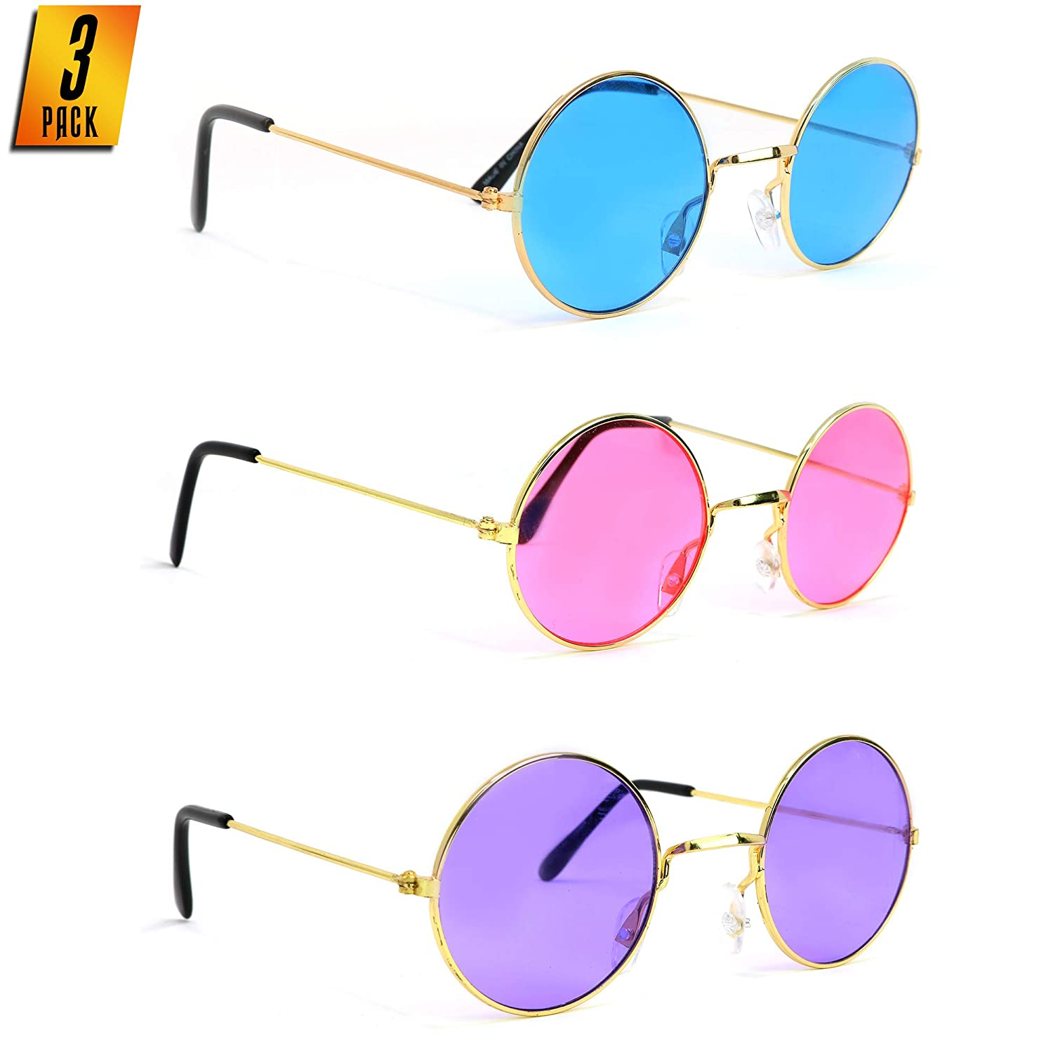 Skeleteen John Lennon Hippie Sunglasses – Pink Purple and Blue 60's Style Circle Glasses - 3 Pairs