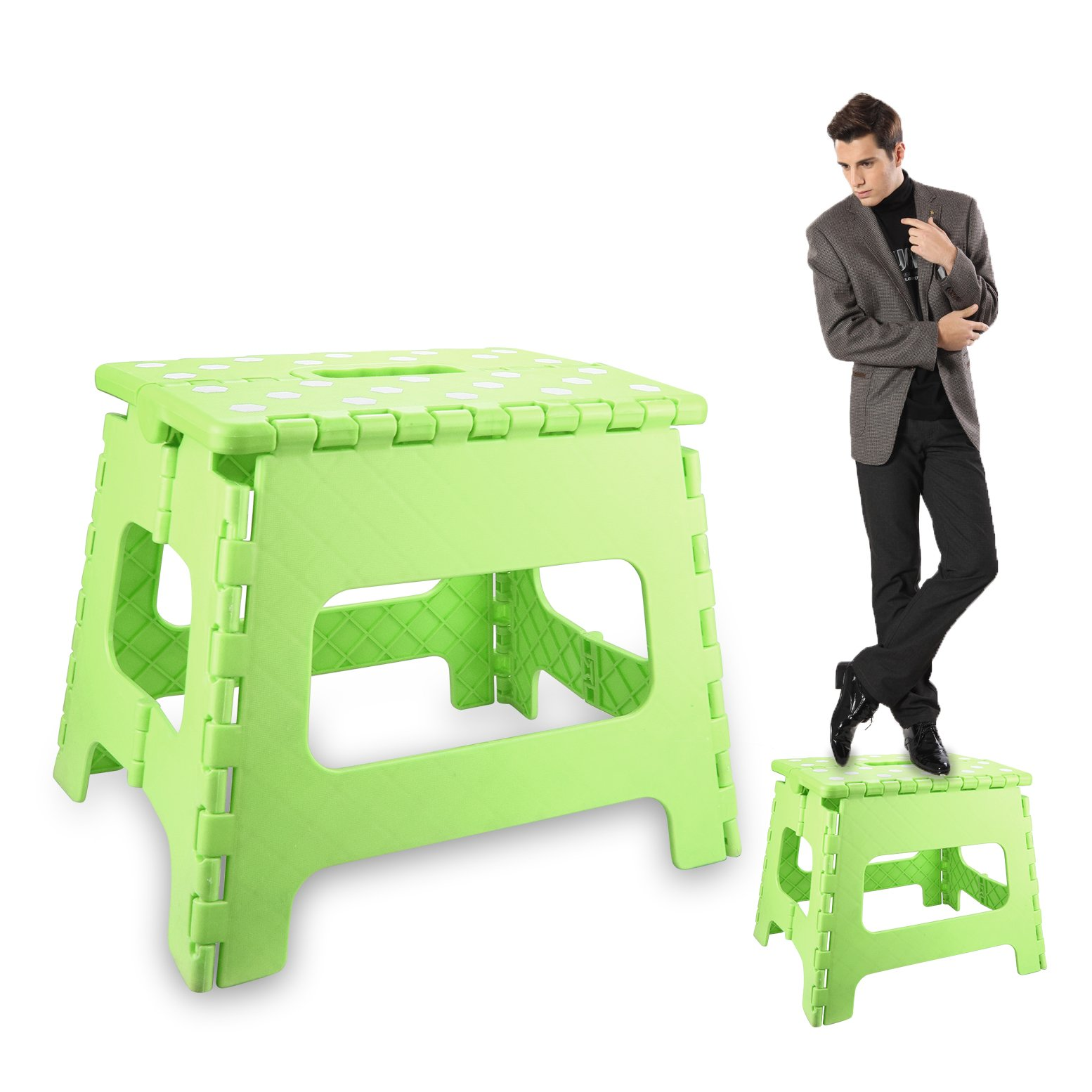 IAMGlobal Folding Step Stool - 13'' Wide Non-Slip Foldable Step Stool with Carrying Handle - Holds up to 300 Lb - Perfect for Kitchen, Bathroom, Bedroom For Kids Adults (Green)