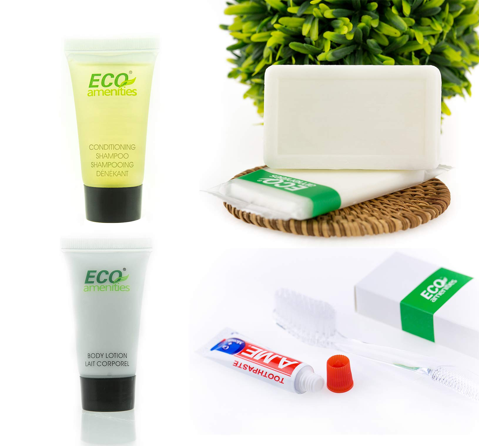 ECO Amenities Hotel Soap, Body Lotion, Mini Size Shampoo and Conditioner and Disposable Toothbrush with Toothpaste 4-Piece Hotel Toiletries in Travel Size for Guest, 15 Pack by ECO Amenities