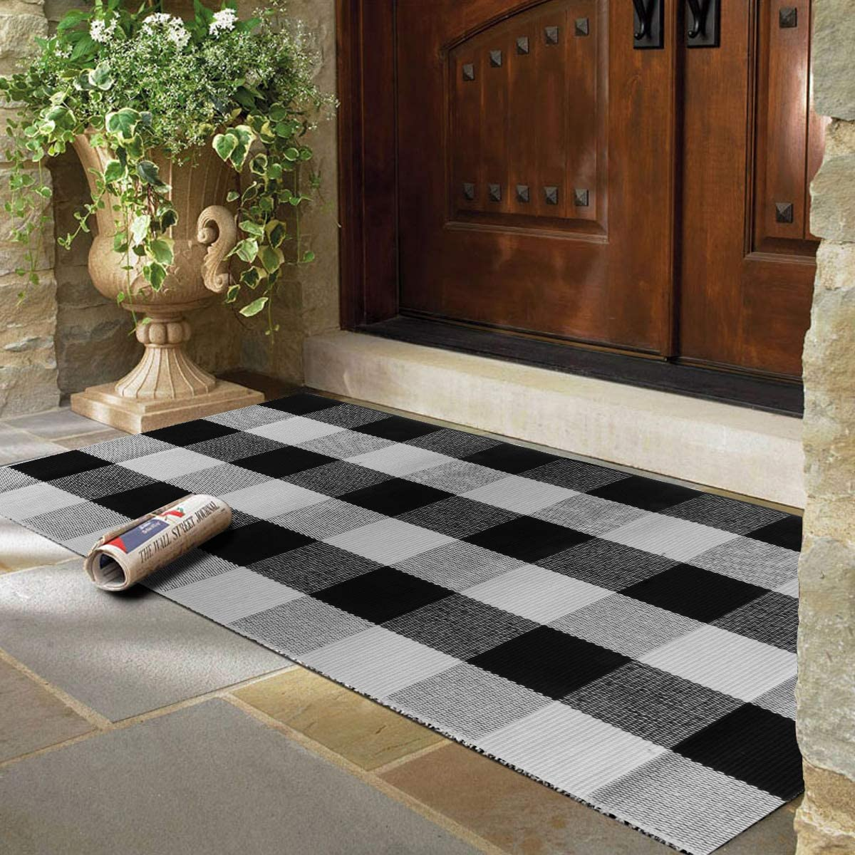 PENCK Buffalo Plaid Area Rug Indoor Outdoor Cotton Check Doormat Hand-Woven Washable Floor Porch Carpet for Front Door Kitchen Entryway Laundry Entrance Way, 59 Inch x 35.4 Inch, Black White