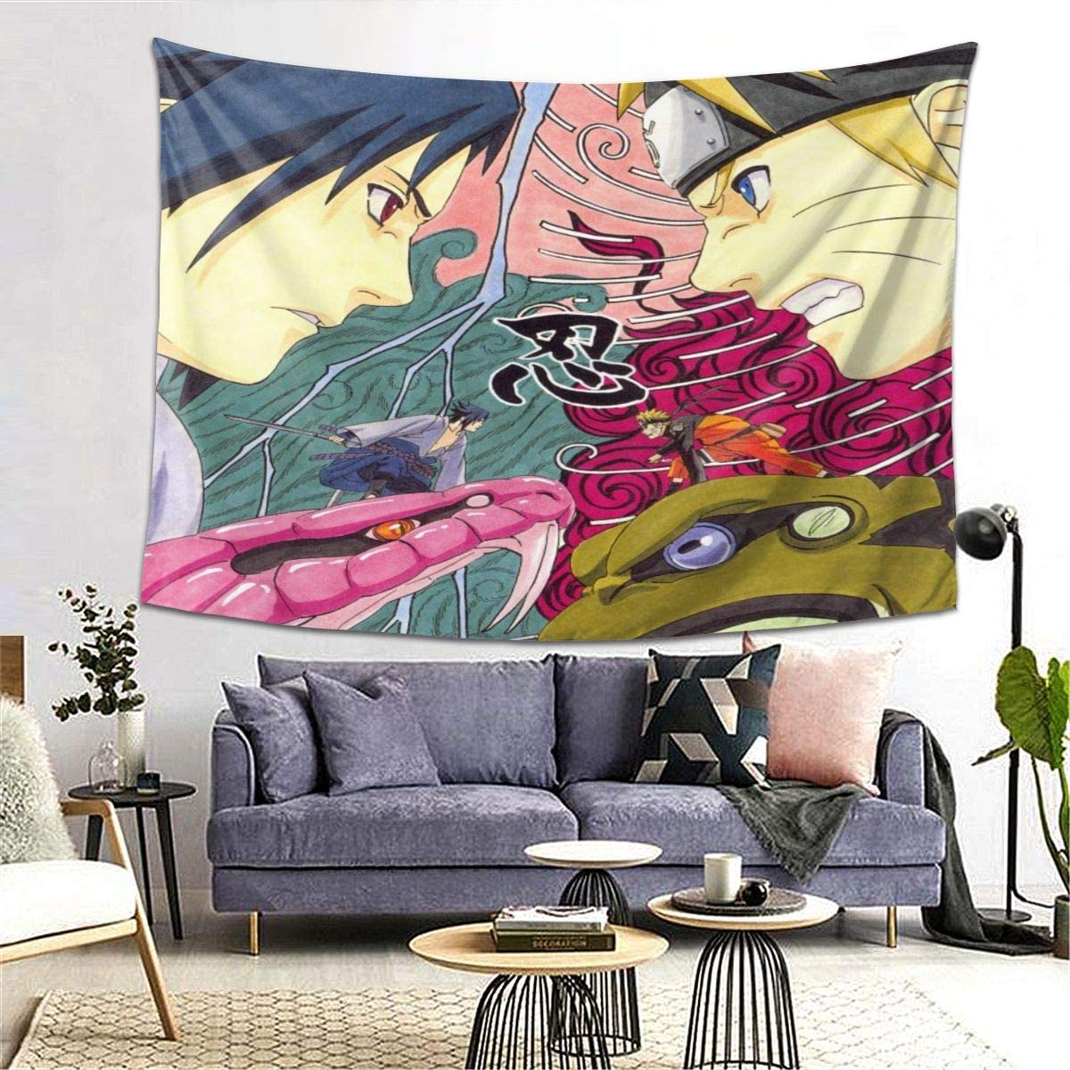 ELIZABETH WEBSTER Naruto Tapestry Decor Wall Hanging Blanket for Bedroom Home Dorm 60 X 80