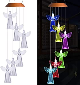 Solar Angel Wind Chimes Outdoor Decor- Waterproof Solar Powered Changing Color Angel Light, Mobile Romantic LED Angel Wind Chime Light for Home, Patio, Gifts for Mom, Festival, Night Garden Decoration